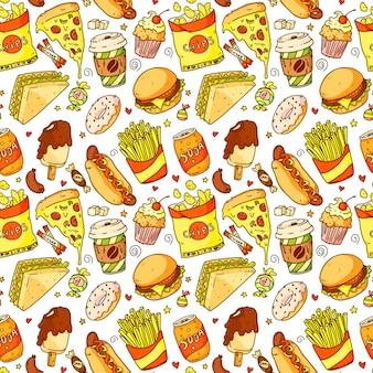 漫画のピザ、ハンバーガー、ホットドッグ、コーヒー、フライドポテト、サンドイッチ、ドーナツ、ソーダ、チップとのシームレスなパターン。ファーストフードとドリンクのベクトル図