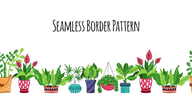 Seamless pattern with cartoon potted house plants