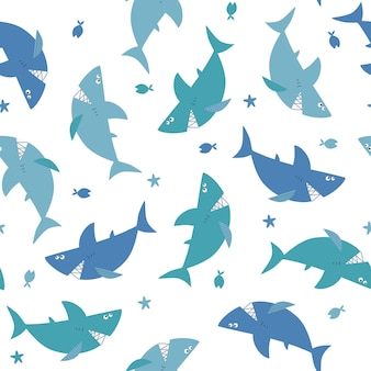 Seamless pattern with cartoon sharks and fish vector childrens illustration marine theme