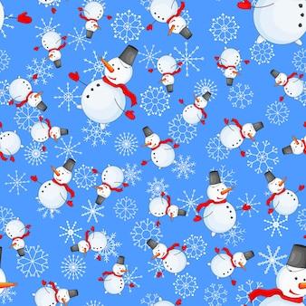 Бесшовный фон с мультяшным снеговиком в векторе.