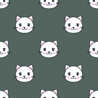 Seamless pattern with cartoon white cat faces