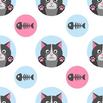 猫と魚の骨とのシームレスなパターン
