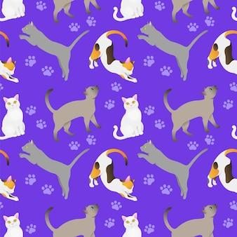 Seamless pattern with cat breeds purple bg
