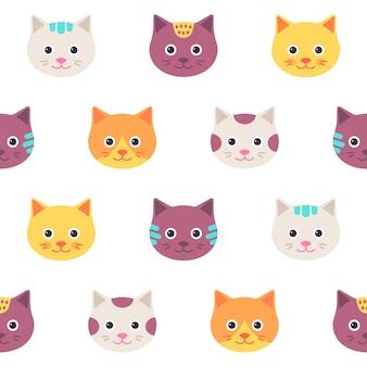 猫の顔とのシームレスなパターン。イラスト、フラット。
