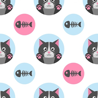 Seamless pattern with cat and fish bone