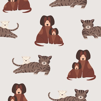 Seamless pattern with cat and kitten, dog and puppy