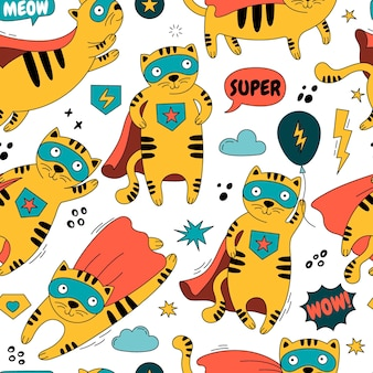 Seamless pattern with a cat in a superhero costume illustration