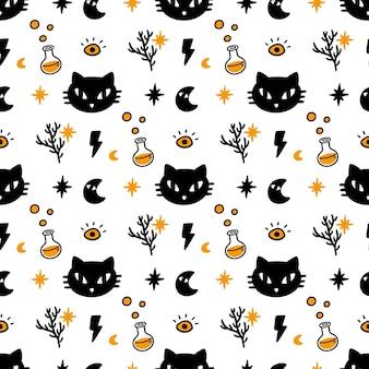 猫とのシームレスパターン