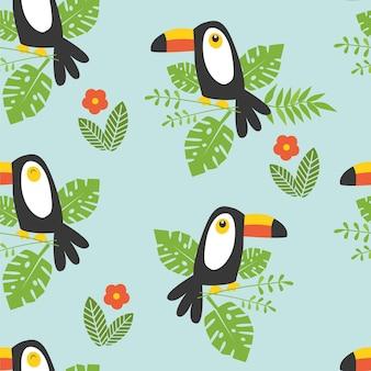 Бесшовный фон с цветами катропических листьев и тукан на синем фоне векторные иллюстрации