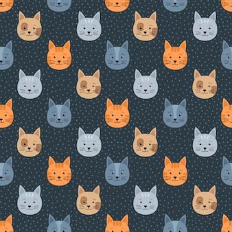 고양이와 점, 벡터 일러스트와 함께 완벽 한 패턴