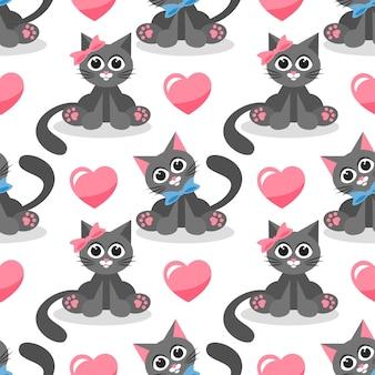 Бесшовный фон с кошками и сердечками