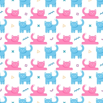 Seamless pattern with cats and geometric shapes