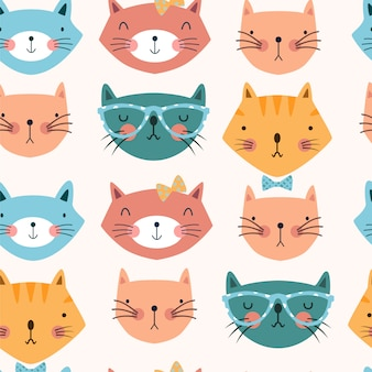 Seamless pattern with cats heads with bows and glasses.