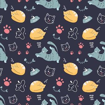 スカンジナビアスタイルの暗い背景にさまざまなポーズの猫とのシームレスなパターン。かわいいペット。