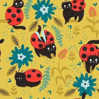 猫-テントウムシとのシームレスなパターン。