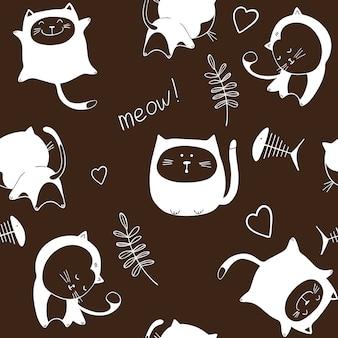 黒の背景に猫とシームレスなパターン