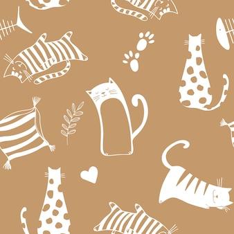 茶色の背景に猫とシームレスなパターン