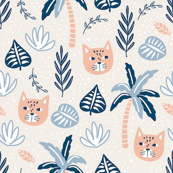Seamless pattern with cats and tropical plants.