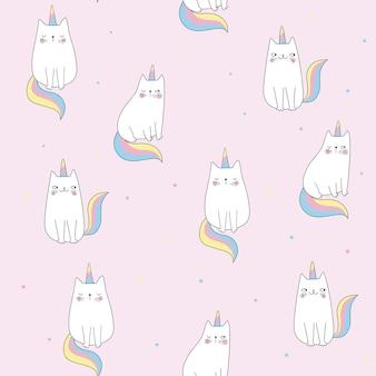 분홍색 배경에 고양이 유니콘과 원활한 패턴 귀여운 고양이 물방울 무늬 낙서 만화 스타일