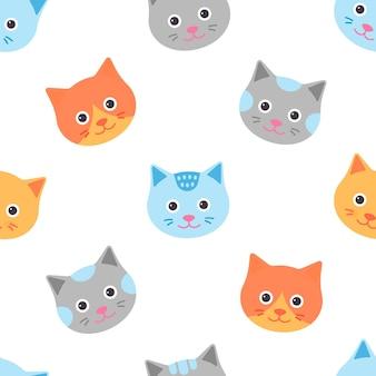 猫とのシームレスなパターン。ベクター。かわいい動物の顔の背景。フラットなデザインの子猫の頭
