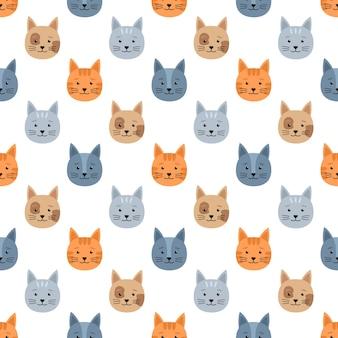 고양이와 원활한 패턴, 벡터 일러스트 레이 션