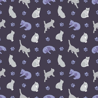 Seamless pattern with the cats