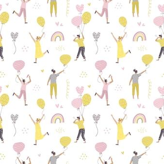 Seamless pattern with celebrating people flying on colorful birthday balloons