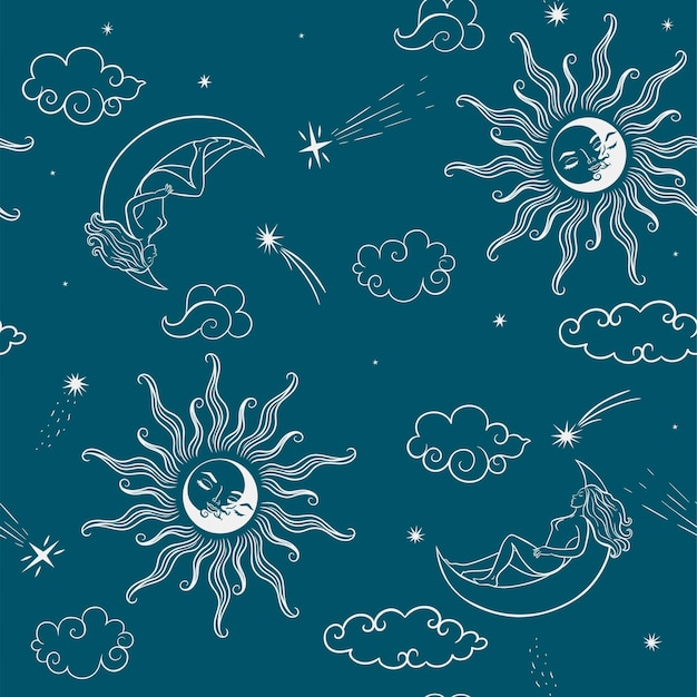 Seamless pattern with celestial bodies and girls. vector graphics.