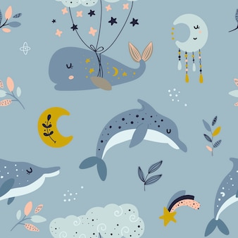 Seamless pattern with celestial whale and dolphins