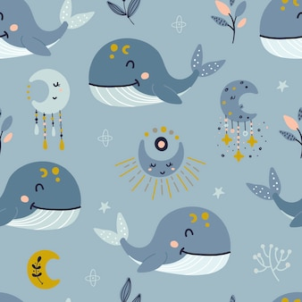 Seamless pattern with celestial whale and moon