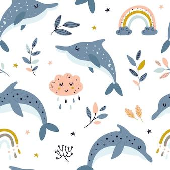 天のクジラとのシームレスなパターン。