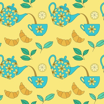 Seamless pattern with ceramic teapots and teacups on yellow background. vector