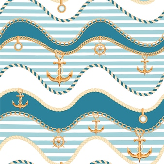 Seamless pattern with chains and anchor