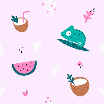 Seamless pattern with chameleon, coconut, watermelon. summer print