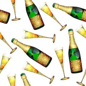 Seamless pattern with champagne bottles and glasses