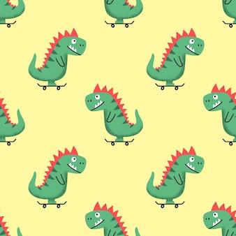 Бесшовный фон с веселым мультяшным динозавром на скейтборде на желтом фоне