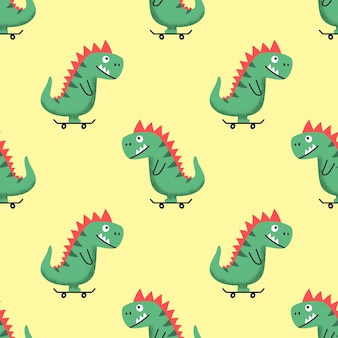 Seamless pattern with cheerful cartoon dino riding skateboard on yellow background