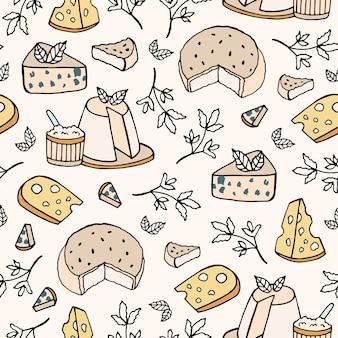 さまざまな種類のチーズとのシームレスなパターン