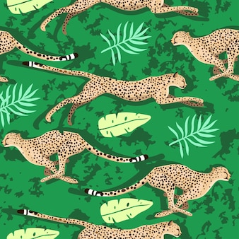 Seamless pattern with cheetahs and leaves.