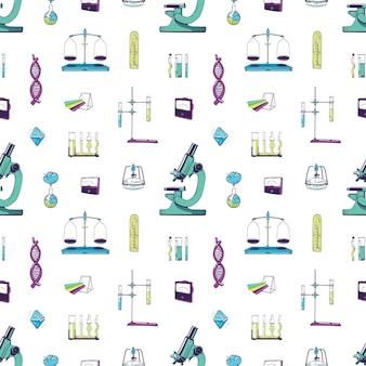 화학 및 물리학 실험실 장비와 원활한 패턴입니다. 과학 실험, 연구, 연구를 위한 측정 도구가 있는 배경. 섬유 인쇄에 대 한 손으로 그린 현실적인 벡터 일러스트 레이 션.