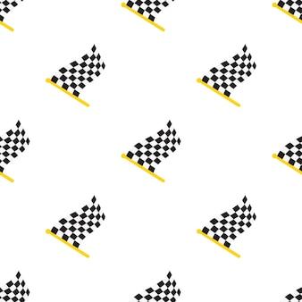 흰색 배경 벡터 일러스트 레이 션에 깃대에 체크 무늬 경주 플래그와 함께 완벽 한 패턴