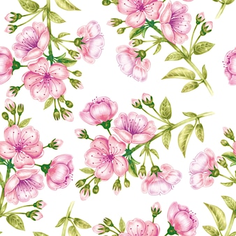 Seamless pattern with cherriy blossom.