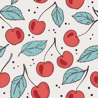 Seamless pattern with cherry.  illustration.
