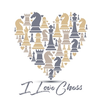 Seamless pattern with chess pieces
