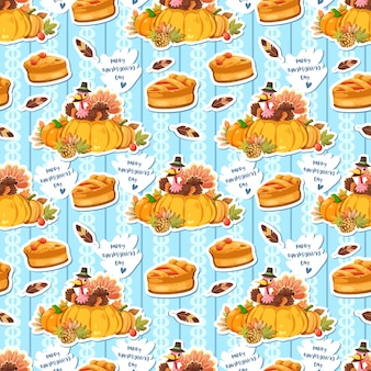 Seamless pattern with chicken feathers, pumpkin and turkey holding the pie