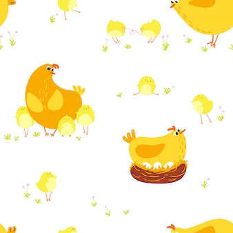 Seamless pattern with chicken mother with babies