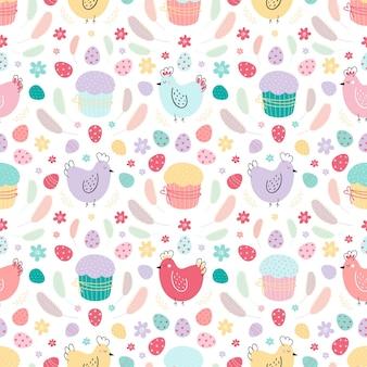닭, 계란, 케이크, 깃털이 있는 매끄러운 패턴