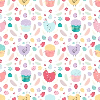 Seamless pattern with chickens, eggs, cakes, and feathers