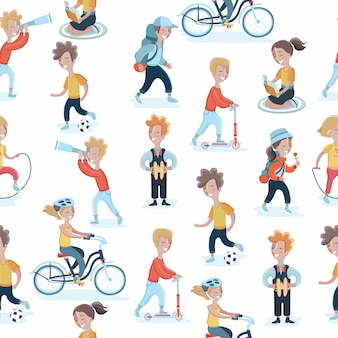 Seamless pattern with children in different actions