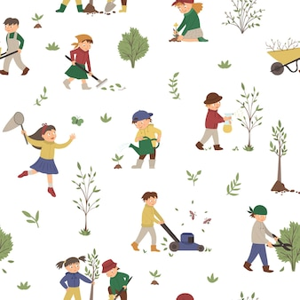 Seamless pattern with children doing garden work